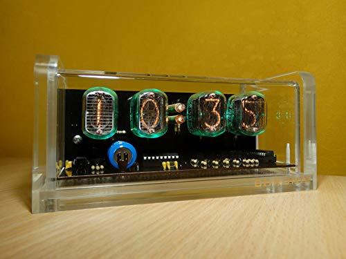 CHRONIX Nixie Tubos Reloj con 4 x IN-12 Tubo Pantallas & Alarma & Verde Iluminación & Caso de Acrilico