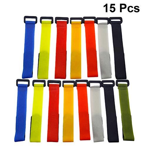 LIOOBO 15 Stücke Angeln Strapes Magische Aufkleber Nylon Bindegürtel Angelrute Zubehör Angelzubehör für Außen Erwachsene (Zufällige Farbe)