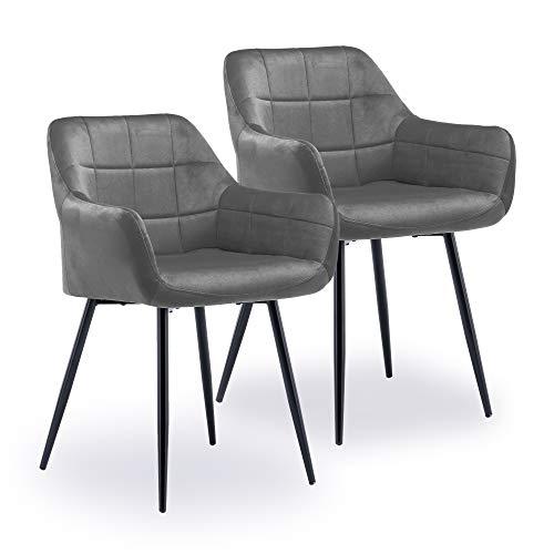 ZOEON Esszimmerstühle 2er Set - Küchenstühle mit Rückenlehne aus Samt - Metallbeine Elif - Polsterstuhl für Esszimmer (Dunkelgrau)