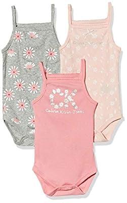 Calvin Klein Baby Girls' 3 Pieces Pack Bodysuits, Pink/Grey, 3-6 Months