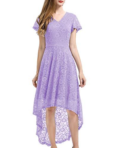 Bbonlinedress Damen Vintage Vokuhila Spitzen Kurzarm Unregelmässig Brautjungfern Abendkleider Lavender M