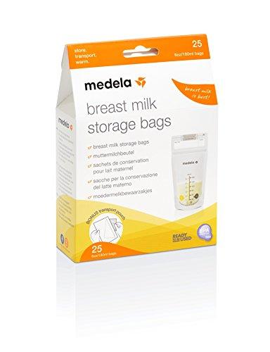 Medela Bolsas de almacenamiento y conservación para leche materna. Paquete de 25 unidades. Fáciles de usar, higiénicas y seguras para almacenar, transportar y calentar la leche materna.