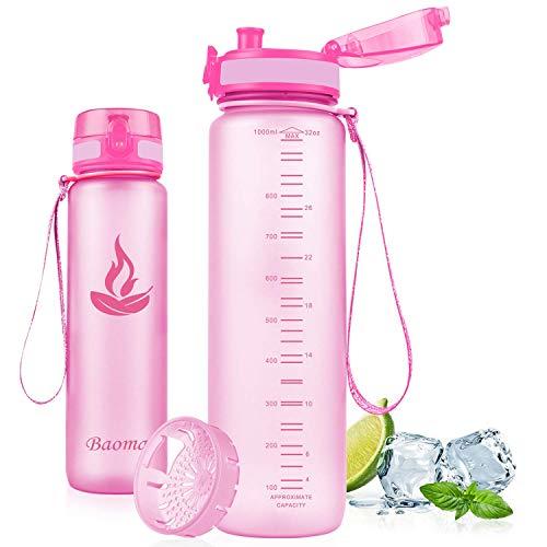 Baomay Botella de Agua Deportiva 500ml, Adultos/Niños Bottle con Filtro, Bidon de Bebidas Plástico Tritan, para Gimnasio, Ciclismo, Trekking | Sin-BPA & Impermeable & Reutilizable (Rosado)