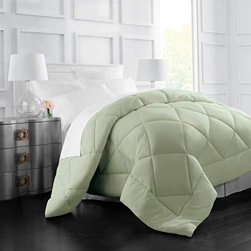 Italian Luxury Goose Down Alternative Comforter - All Season - 2100 Series Hotel Collection - Luxury Hypoallergenic Comforter - Full,Queen - Sage