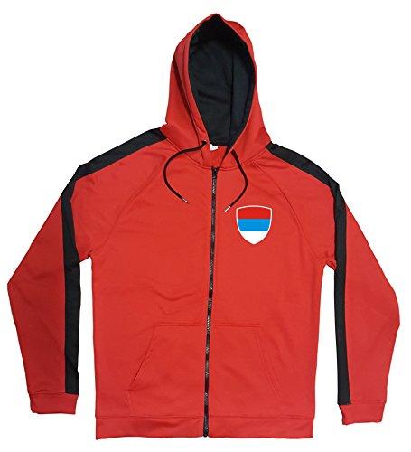 Aprom-Sports Serbien Jacke Sweater Rot JA GO Srbija Trikot Look Zip Nation Fussball Sport (2XL)