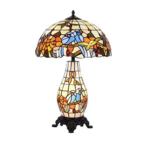 HGJINFANF Lámpara de Mesa Vintage Americana, vidrieras + Mesa de Metal Sala de Estar de Mesa de Mesa lámpara de Noche