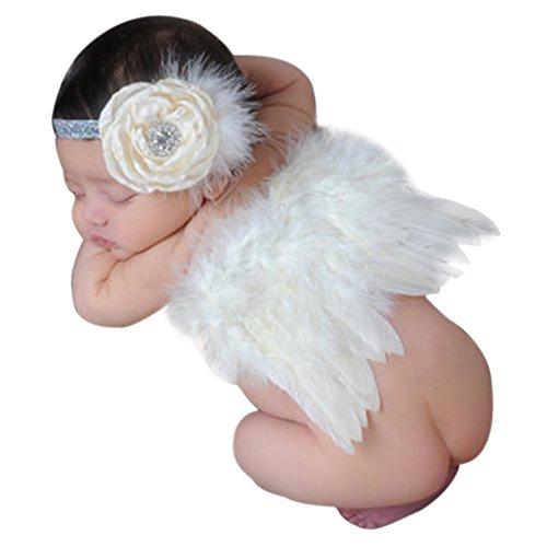 CHIC-CHIC Baby Engel flügel Kostüm 0- 6 M Säugling Fotografie Outfit Newborn Foto Prop Neugeborenes Baby Feder Anzug (Beige)