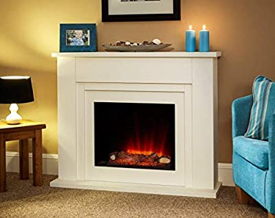 Suncrest Bedale Textured White Surround Modern Electric Fire LED Fireplace Suite