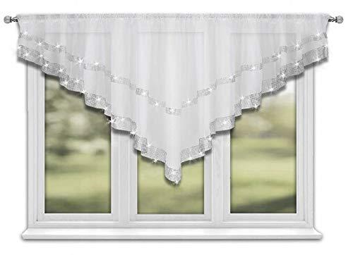 FKL TOP Fertig-Gardine aus Voile mit Satinband Weiß Modern Schöne Küche-Gardine 400 cm x 85 cm Gardienen mit Kräuselband und Zirkonia LB-271