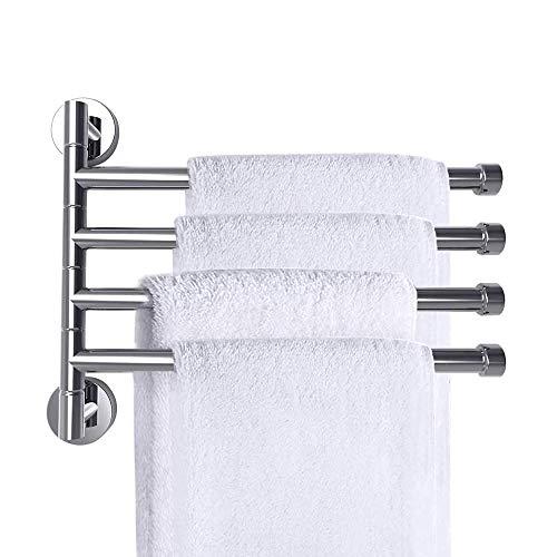 ALEENFOON Swivel Towel Rail Bathroom Towel Holder Stainless Steel Bath Towel Bars Wall Mounted Swing Towel Rack Holder Bathroom Storage Organizer for Kitchen, Bathroom Chrome (4 Arm)