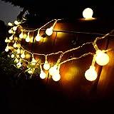 Pilas USB 2 en 1 Guirnaldas Luces Control Remoto 13m 100 Led Bolas 8 modos Blanco Luces de Adornos Navidad Impermeable Para Interior Exterior Fiesta Jardín Habitacion Decoración