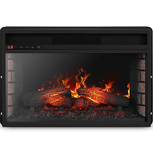 Della 3DInfrared Electric Fireplace Insert 26-inch with Remote Control (Black) Portable Indoor Space Heater – 1400W with Long Glass View, Overheating Safety Protection