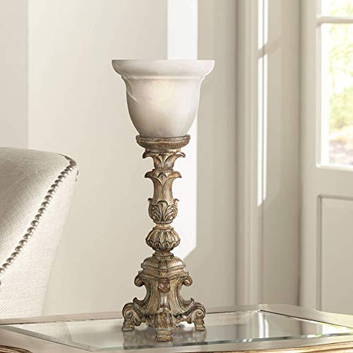 """French Candlestick Beige Wash 18"""" High Accent Console Lamp"""