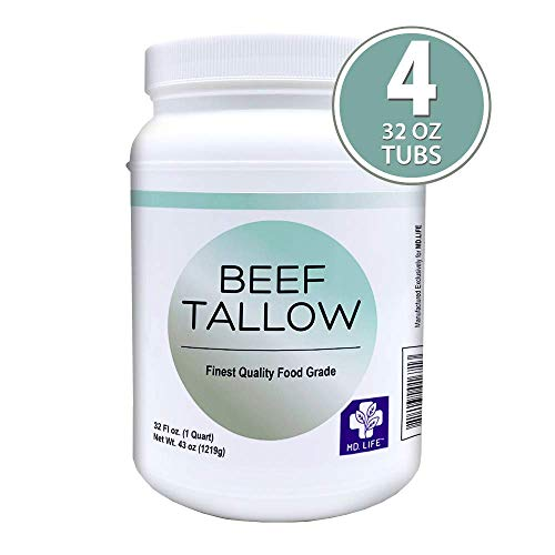 MD. Life Beef Tallow Lard for Cooking - Food Grade Grass Fed Collagen Protein - Pasture Raised Beef Tallow for Cooking Oil Replacement - Keto Friendly - 1 Gallon - Can be Used to Make Candles & Soaps