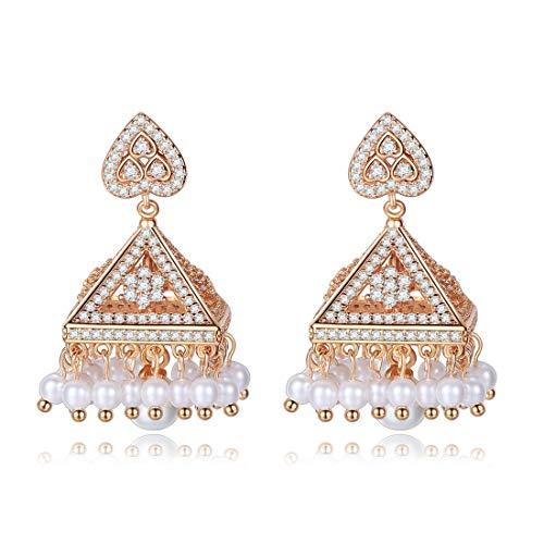 Pendientes Colgantes Elf Stud Pendientes Incrustaciones de Cobre AAA Circón Estilo Indio Pendientes de Perlas en Forma de corazón Pendientes de Mujer