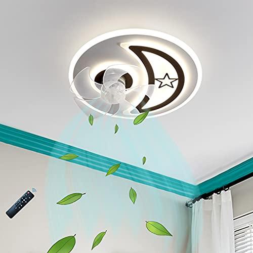 Ventilador De Techo Con Iluminación LED, Lámpara De Ventilador De Techo Regulable Y De 3 Velocidades Regulables Con Mando A Distancia, Lámpara De Ventilador Invisible Silenciosa Para Sala De Estar