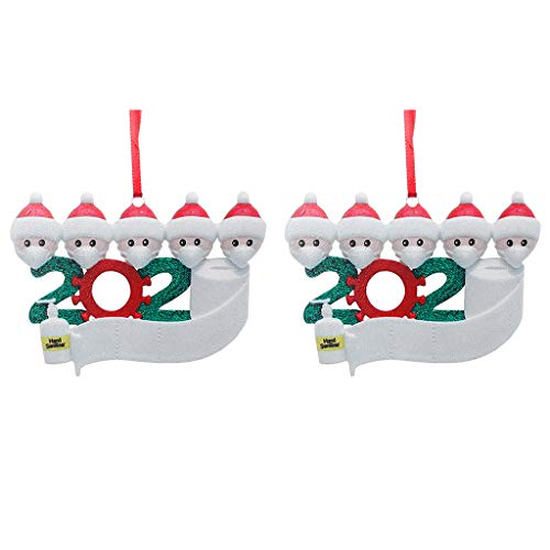 Shan-S Christmas 2020 Ornaments,2Pcs Iron Art Personalized Survived Family of Ornament 2020 Christmas Special Keepsake Xmas Decorations Gifts Holiday Decor