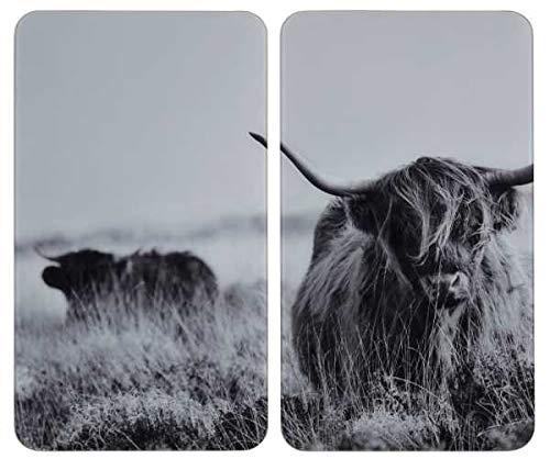 WENKO Herdabdeckplatte Universal Highland Cattle 2er Set - 2er Set, Kochplattenabdeckung und Glas-Schneidebrett für alle Herdarten, Gehärtetes Glas, 30 x 1.8-5.5 x 52 cm, Mehrfarbig