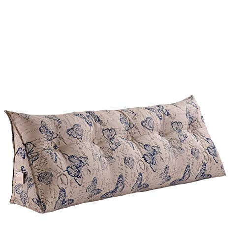 B-fengliu Large PP-Cotton Filled Triangular Wedge Cushion Bed Backrest Positioning Support Upholstered Headboard Sofa Bed Daybed Reading Pillow Removable Washable Cover