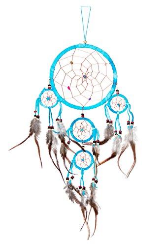 60cm x 16cm Dreamcatcher Traumfänger Türkis Bunte Steine Indianer Deko