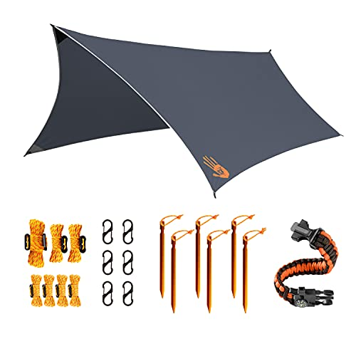 Rain Fly EVOLUTION 12x10 Lightweight Camping Tarp; 100% Waterproof; Makes a Great Backpacking Tarp or Hammock Shelter; with Survival Bracelet – Gray