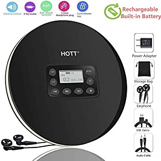 DeeFec Portable CD Player with Headphones, HOTT Personal CD Walkman Music Player with LCD Display, Skip Protection Shockpr...