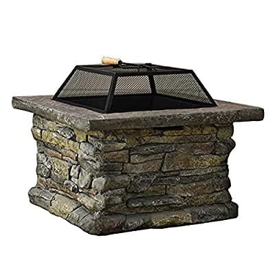 Fire Pit Fire Pit Table with Barbecue Grill, 24-inch Square Barbecue fire Pit, Garden Wood fire Pit (Color : Style1) by Lijack