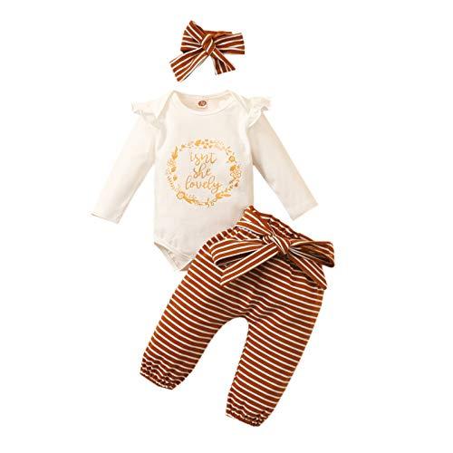 Neugeborenes Baby Langarm Strampler und Gestreifte Hose und Stirnband, Baby Mädchen Junge Baumwolle Bodysuit und Hosen Set Winter warme Outfits Anzug