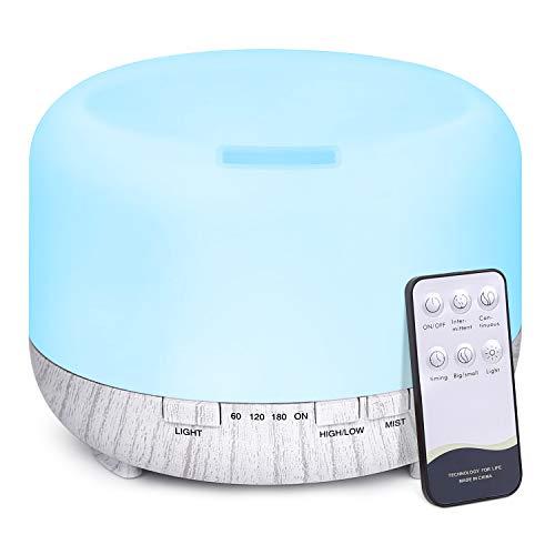 500ml Aroma Diffuser,TENSWALL Luftbefeuchter Ultraschall mit Fernbedienung mit 14 Farben LED für zuhause, Yoga, Büro, SPA, Schlafzimmer