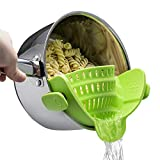 Silicone Clip on Strainer, Patented Clip on Silicone Colander, Clip-on Kitchen Food Strainer for...