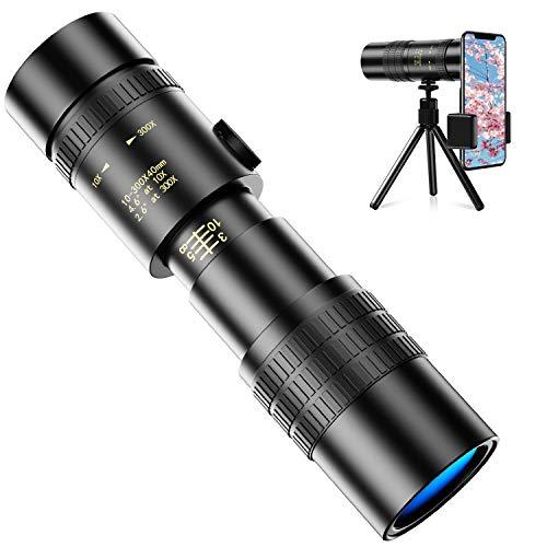2021最新版単眼鏡 望遠鏡 10-300x40 高倍率 高解像度 高透過率 超望遠レンズ 防水霧 耐衝撃 観戦 観察 運動会 コンサートスポーツ観戦 天体観測 山登り お釣り アウトドア