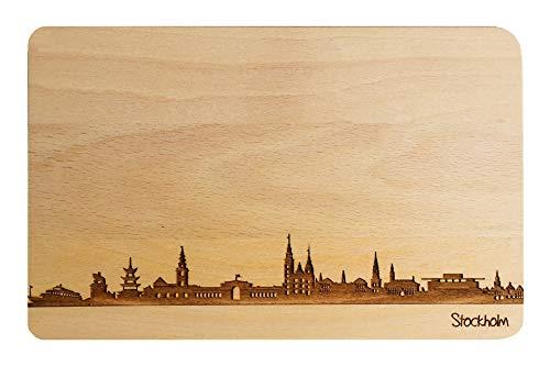 Brotzeitbrett Stockholm I Schweden I Skyline | Frühstücksbrettchen aus Buche | Holz Schneidbrett | Geschenk mit Gravur | Frühstücksbrett (22x14x1cm, 1. ohne persönlicher Gravur)