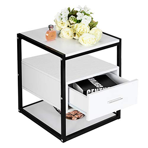 Bedside Simple Easy to Assemble Table,White Three-Tier Bedside Table with Drawers Bedroom Storage Drawer