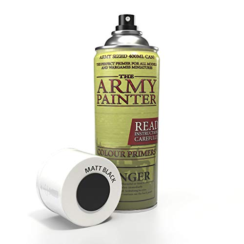 The Army Painter | Colour Primer | Matt Black | 400 mL | Espray Acrílico | Base para Pintura de Modelos Miniatura | Negro Mate