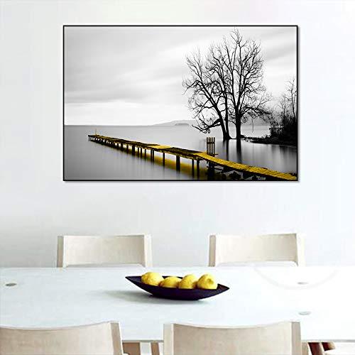 N / A Paesaggio Bridge Lakeside Scene Canvas Painting Poster e Stampe Immagini su pareti per Soggiorno Modern Interior Home Decor No Frame 50x70 cm