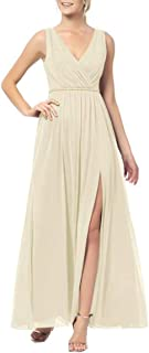 JONLYC A-Line Double V-Neck Chiffon Long Bridesmaid Dresses Evening Gowns with Slit