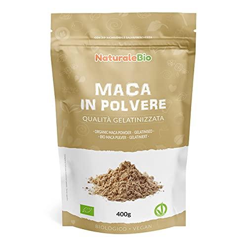 Maca Bio en Poudre 400g. Organic Peruvian Maca Root Powder. 100% Biologique, Naturel et Pur, Produit au Perou de Racine de Maca Bio - Gélatinisée - NaturaleBio