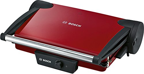 Bosch TFB4402V Contactgrill (1800 W, 3 grillposities, traploos regelbare thermostaat), rood/antraciet