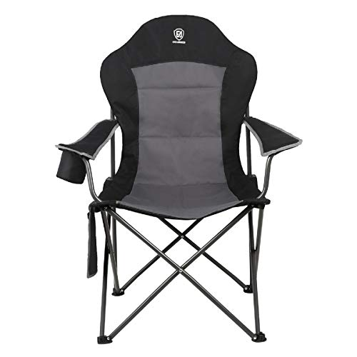 Ever Advanced Oversized Quad Folding High Back Camping Chair, Support 300lbs, Adjustable Armrest Portable Padded Heavy Duty Collapsible Camp Chair with Storage Bag & Cup Holder for Outdoor,Lawn