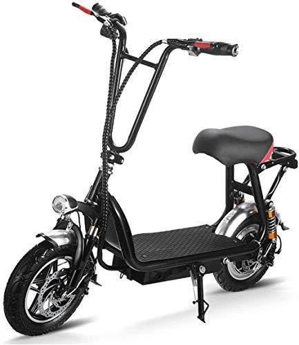 Woodtree De 10 Pulgadas Bicicleta eléctrica, 350W portátil Vespa Plegable con Frenos de Disco, 200 Lumen Headlhts y Taillhts