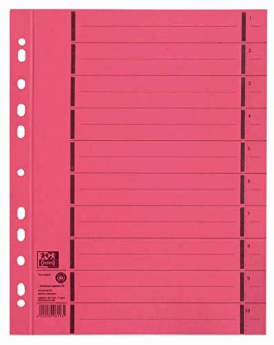ELBA 400004670 Trennblätter aus Recycling-Kraftkarton für DIN A4 100er Pack mit Perforation numeriert 1-10 mit Linienaufdruck rot Trennlaschen Trennblätter Ordner Register Kalender Blauer Engel