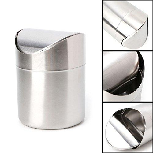 Poubelle de bureau en acier inoxydable avec couvercle basculant 1,5 l