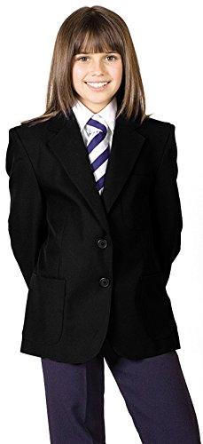 CKL Mädchen Schule Uniform Blazer 100% Polyester Teflon beschichtet wasserabweisend Blazer Coat Jacke, CBZG01M, Schwarz