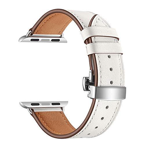 Correa Piel Reloj Reloj Banda de Cuero Mariposa Correa de Cierre 44mm 40mm 42 38 Correa Reloj (Band Color : White)