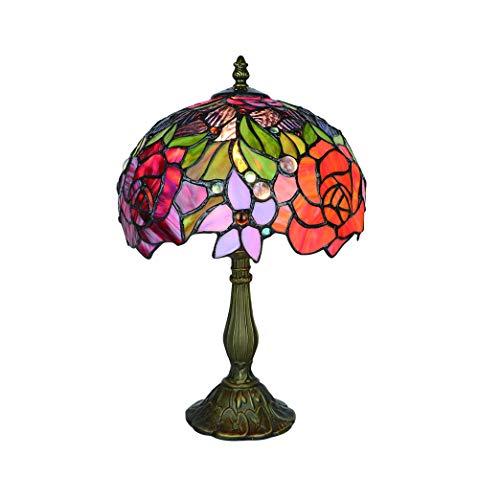 Tokira Tiffany-Stil Tischlampe, Glasmalerei 10 Zoll Rote Rose Blume Nachtlicht, Vintage Europen Schreibtischlampen Nacht Schlafzimmer für Wohnzimmer LED-Lampe