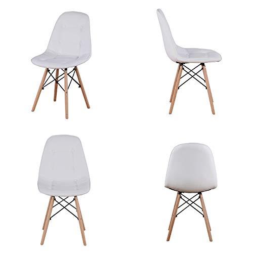 GroBKau - Set di 4 sedie da pranzo in pelle PU, con schienale e seduta imbottiti, stile moderno, gambe in legno di metà secolo, sedia laterale per soggiorno, sala da pranzo, cucina (bianco)