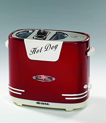 Ariete 186 Party Time Hotdog-Maker, Gerät für hausgemachte Hotdogs, 650 W, Rot