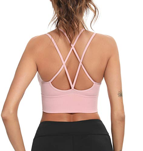 Enjoyoself Damen Sport-BH Yoga BH Bügellos Push Up Sports Bra mit Kreuz Rücken Chic Sport Bustier für Leicht Sport oder Alltag Rosa,S