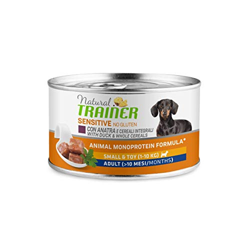 Trainer Natural Sensitive No Glutine - Paté per Cani Mini-Toy Adulti con Anatra 24 x 150g - 3,6kg