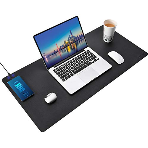 Furison 36''x17'' 15W Wireless Charging Office Desk Pad Protector, Left/Right Charging Optional, Compatible with Qi Enabled Devices Like iPhone/Samsung/Pixel etc (36''x17'' Black - L)